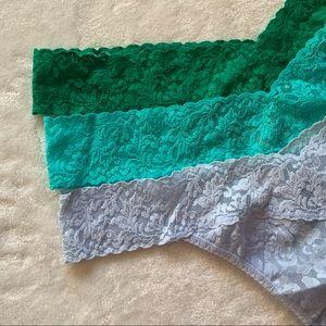 3) Hanky Panky Plus Size Original Rise Lace Thongs